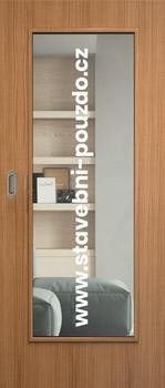Posuvné dveře SAPELI ELEGANT - M40 sklo, mušle ovál saten mat s WC zámkem + čelní úchyt - 1