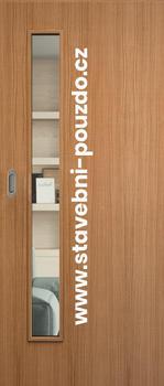 Posuvné dveře SAPELI ELEGANT - M60 sklo, mušle ovál saten mat s WC zámkem + čelní úchyt - 1