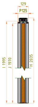 Stavební pouzdro JAP 703 Emotive Standard 1100 mm, výška průchodu 2100 mm - 5